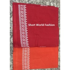 Ghamacha Cotton Border  : 1.70 Meter (Red Color)